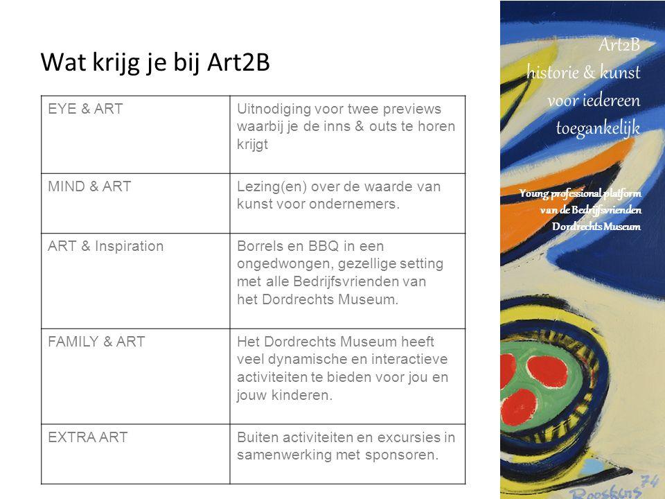 Art2B historie & kunst voor iedereen toegankelijk Young professional platform van de Bedrijfsvrienden Dordrechts Museum Wat krijg je bij Art2B EYE & ARTUitnodiging voor twee previews waarbij je de inns & outs te horen krijgt MIND & ARTLezing(en) over de waarde van kunst voor ondernemers.