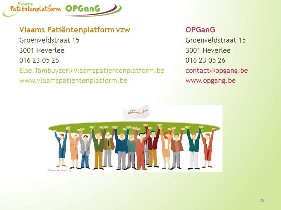 Vlaams Patiëntenplatform vzwOPGanGGroenveldstraat 153001 Heverlee016 23 05 26 Else.Tambuyzer@vlaamspatientenplatform.becontact@opgang.be www.vlaamspat