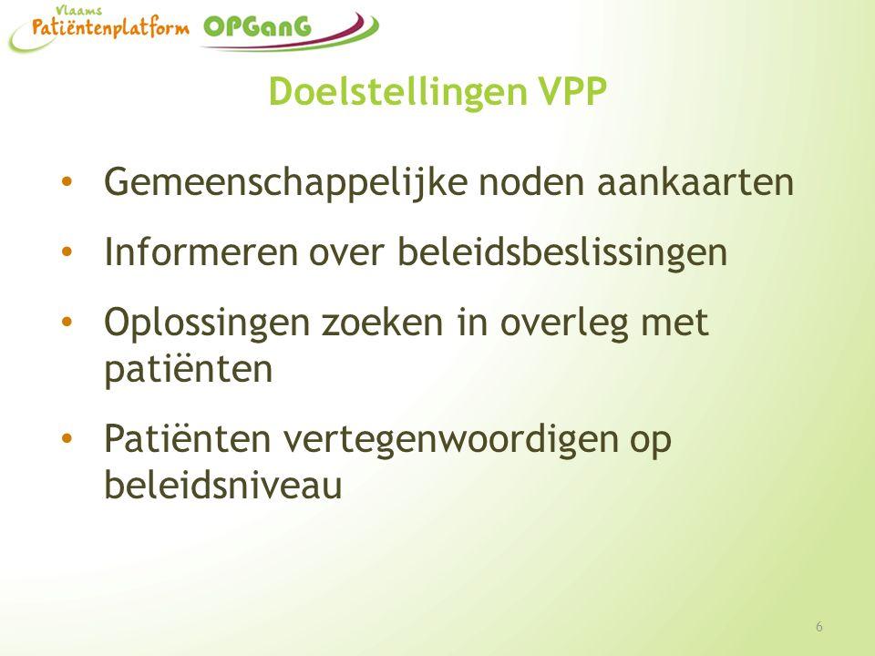 Doelstellingen VPP Gemeenschappelijke noden aankaarten Informeren over beleidsbeslissingen Oplossingen zoeken in overleg met patiënten Patiënten verte