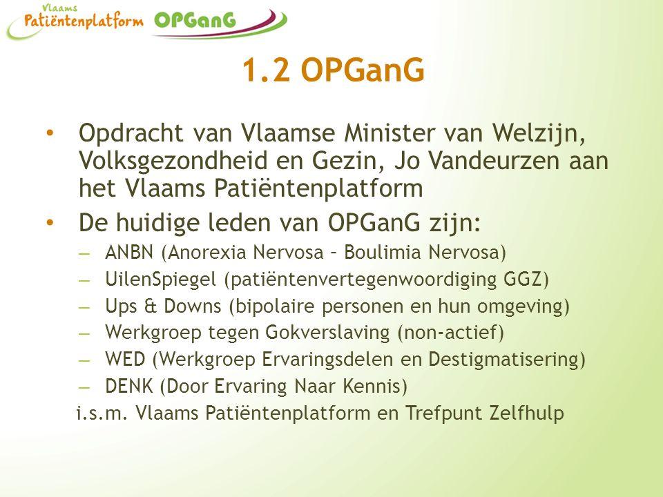 1.2 OPGanG Opdracht van Vlaamse Minister van Welzijn, Volksgezondheid en Gezin, Jo Vandeurzen aan het Vlaams Patiëntenplatform De huidige leden van OP