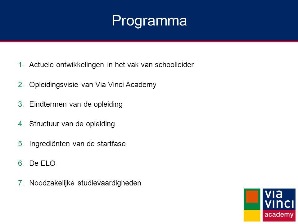 Programma 1.Actuele ontwikkelingen in het vak van schoolleider 2.Opleidingsvisie van Via Vinci Academy 3.Eindtermen van de opleiding 4.Structuur van de opleiding 5.Ingrediënten van de startfase 6.De ELO 7.Noodzakelijke studievaardigheden