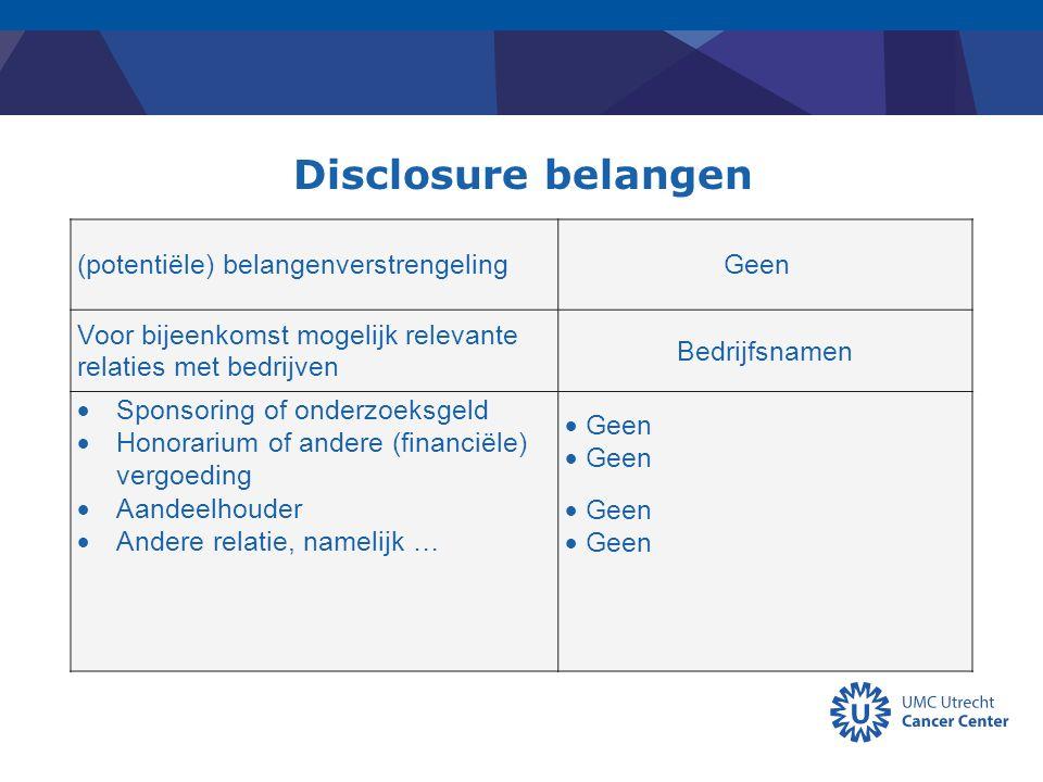 Disclosure belangen (potentiële) belangenverstrengelingGeen Voor bijeenkomst mogelijk relevante relaties met bedrijven Bedrijfsnamen  Sponsoring of o