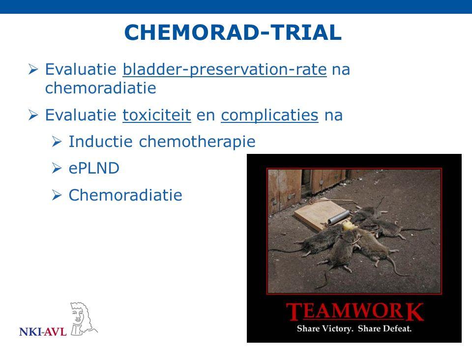 CHEMORAD-TRIAL  Evaluatie bladder-preservation-rate na chemoradiatie  Evaluatie toxiciteit en complicaties na  Inductie chemotherapie  ePLND  Che