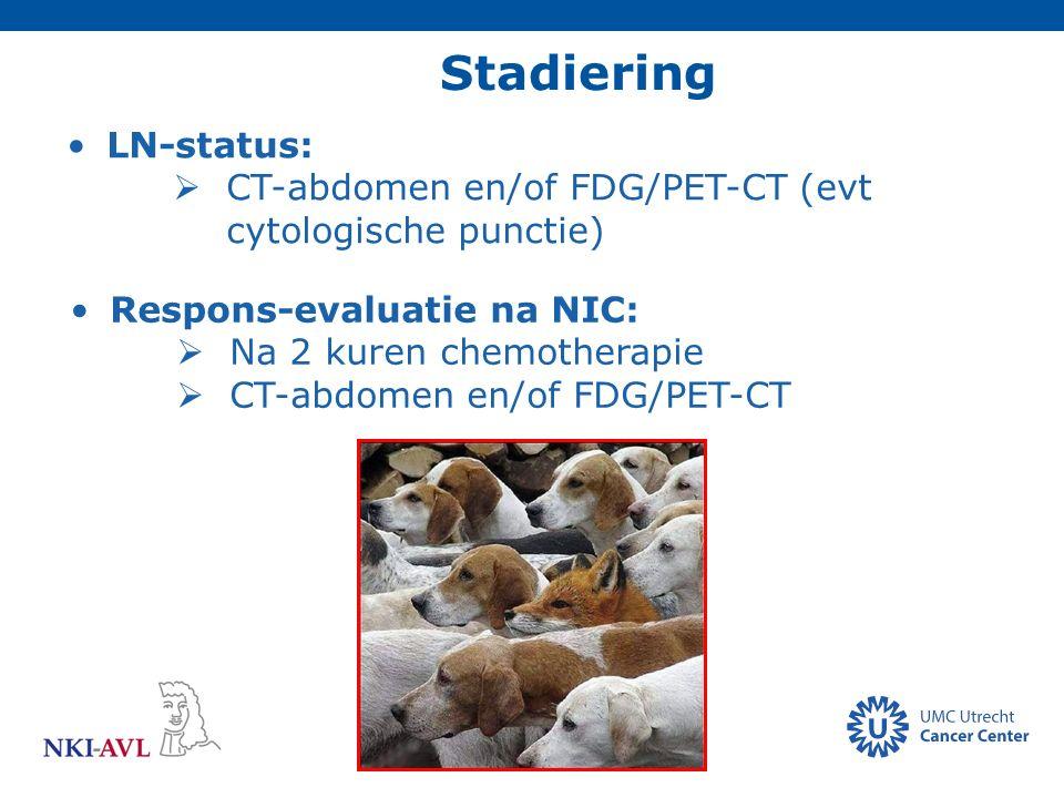 Stadiering LN-status:  CT-abdomen en/of FDG/PET-CT (evt cytologische punctie) Respons-evaluatie na NIC:  Na 2 kuren chemotherapie  CT-abdomen en/of
