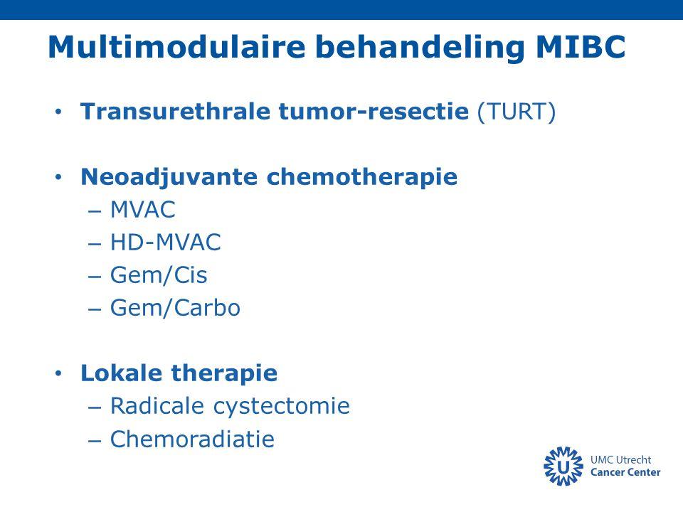 N= 348 MIBC (cT2-4a) Trimodulaire behandeling: – TURT – Chemoradiatie (CRT): na 40Gy controle blaasbiopsie indien CR nog 25Gy CRT 5-jrs DSS: 64% (74% voor T2; 53% voor T3-T4) Cystectomie 29%: – 17% Direct (geen complete respons) – 12% Salvage vanwege recidief MIBC