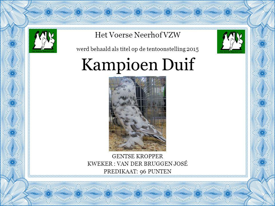 Het Voerse Neerhof VZW GENTSE KROPPER KWEKER : VAN DER BRUGGEN JOSÉ PREDIKAAT: 96 PUNTEN Kampioen Duif werd behaald als titel op de tentoonstelling 2015