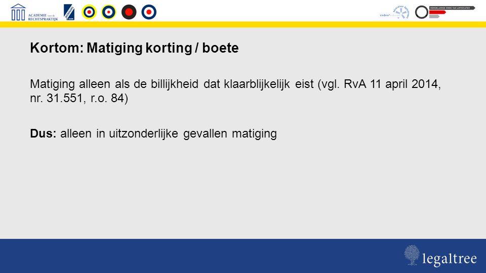 Jurisprudentie anno nu waarbij beroep op matiging is toegewezen: RvA 16 december 2011, nr 32.391 Rb Rotterdam 6 maart 2013, nr.