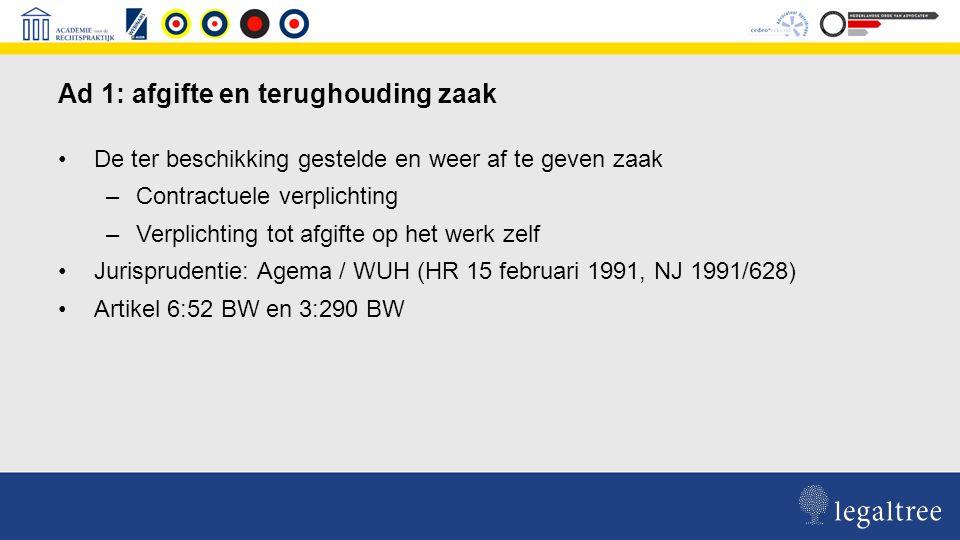 Uitoefening retentierecht op een gedeelte van de af te geven zaak Eis jurisprudentie: gedeelte moet zich lenen voor terughouding ( Gemeenschappelijk Hof van Justitie van de Ned.