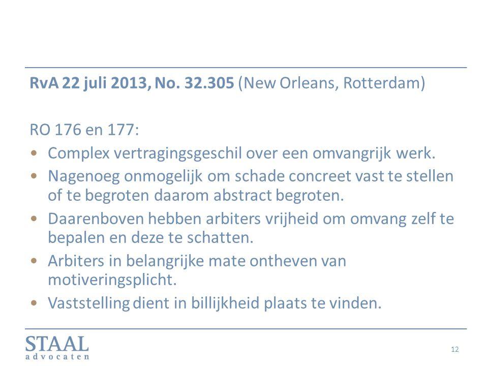 RvA 22 juli 2013, No. 32.305 (New Orleans, Rotterdam) RO 176 en 177: Complex vertragingsgeschil over een omvangrijk werk. Nagenoeg onmogelijk om schad