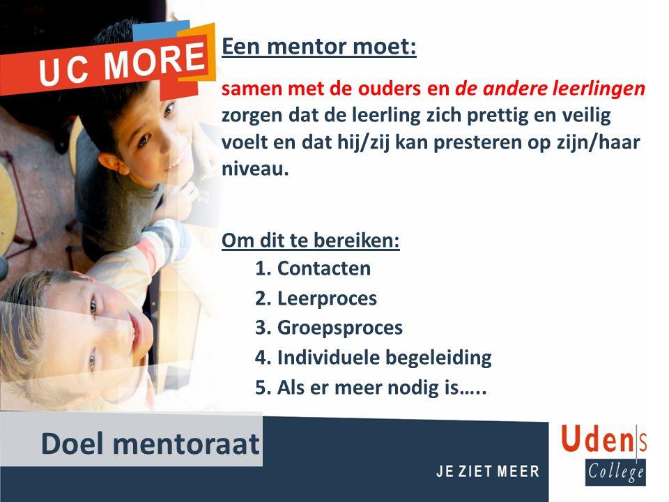 Doel mentoraat Een mentor moet: samen met de ouders en de andere leerlingen zorgen dat de leerling zich prettig en veilig voelt en dat hij/zij kan presteren op zijn/haar niveau.