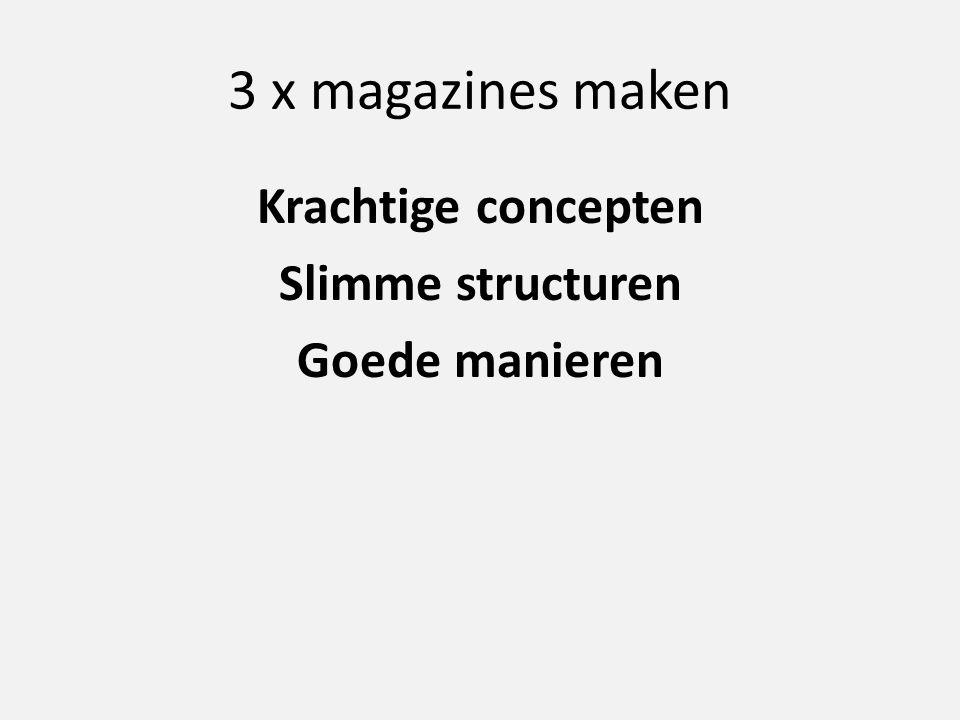 3 x magazines maken Krachtige concepten Slimme structuren Goede manieren