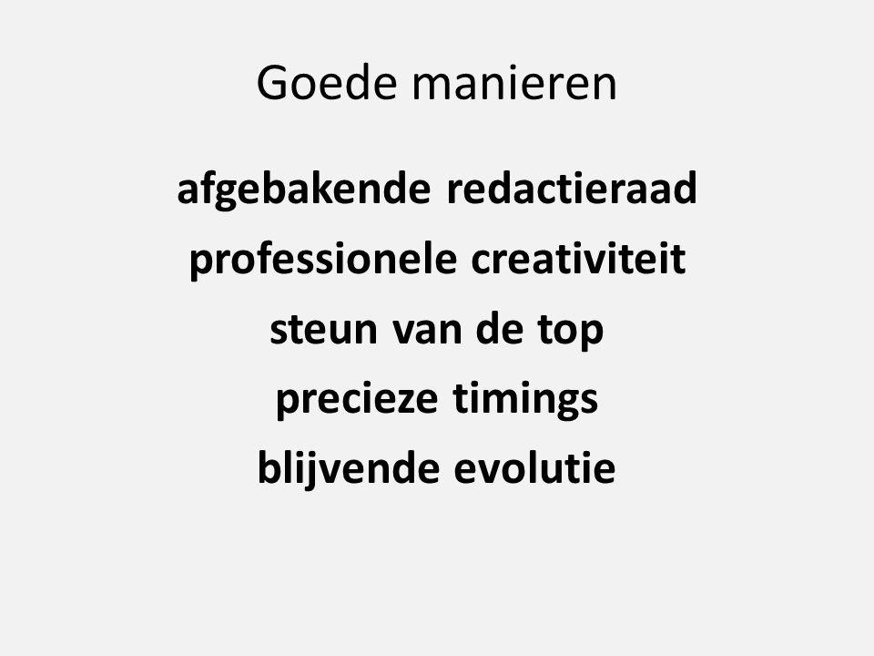 Goede manieren afgebakende redactieraad professionele creativiteit steun van de top precieze timings blijvende evolutie