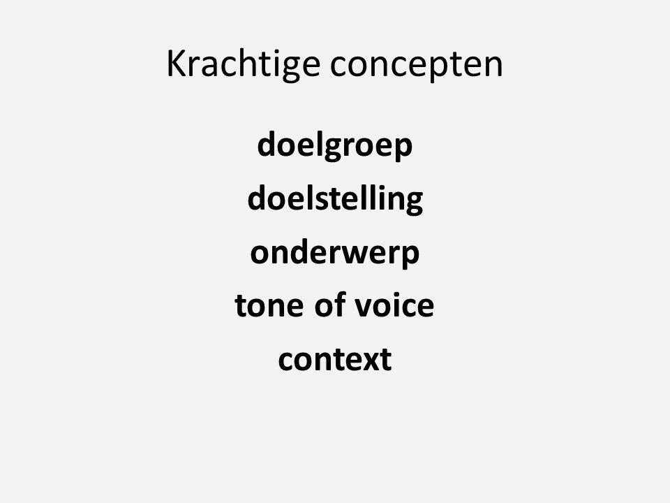 Krachtige concepten doelgroep doelstelling onderwerp tone of voice context