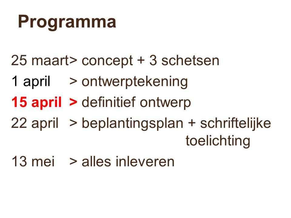 Programma 25 maart> concept + 3 schetsen 1 april> ontwerptekening 15 april> definitief ontwerp 22 april> beplantingsplan + schriftelijke toelichting 1