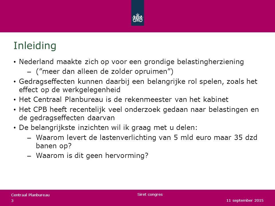 Centraal Planbureau De LB/IB (box 1) Korte beschrijving van het huidige stelsel met behulp van plaatjes Marginale druk – Definitie: het deel van een stijging in het bruto inkomen dat niet resulteert in een stijging van het netto inkomen – Relevant voor de keuze om meer of minder te werken Participatiebelasting – Definitie: het deel van het bruto inkomen dat niet resulteert in het netto inkomen – Relevant voor de keuze om al dan niet te werken Determinanten: schijftarieven, schijven, heffingskortingen en inkomensafhankelijke regelingen 11 september 2015 Siret congres 4