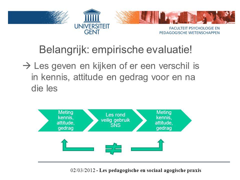 Belangrijk: empirische evaluatie!  Les geven en kijken of er een verschil is in kennis, attitude en gedrag voor en na die les Meting kennis, attitude