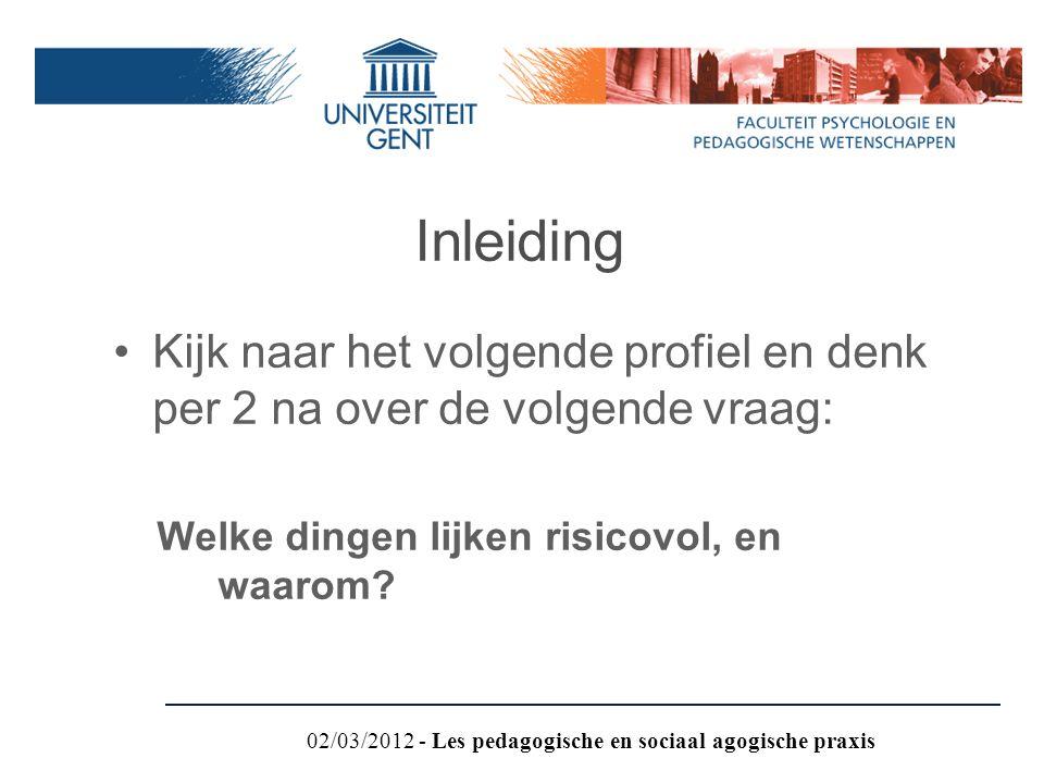 Inleiding Kijk naar het volgende profiel en denk per 2 na over de volgende vraag: Welke dingen lijken risicovol, en waarom? 02/03/2012 - Les pedagogis