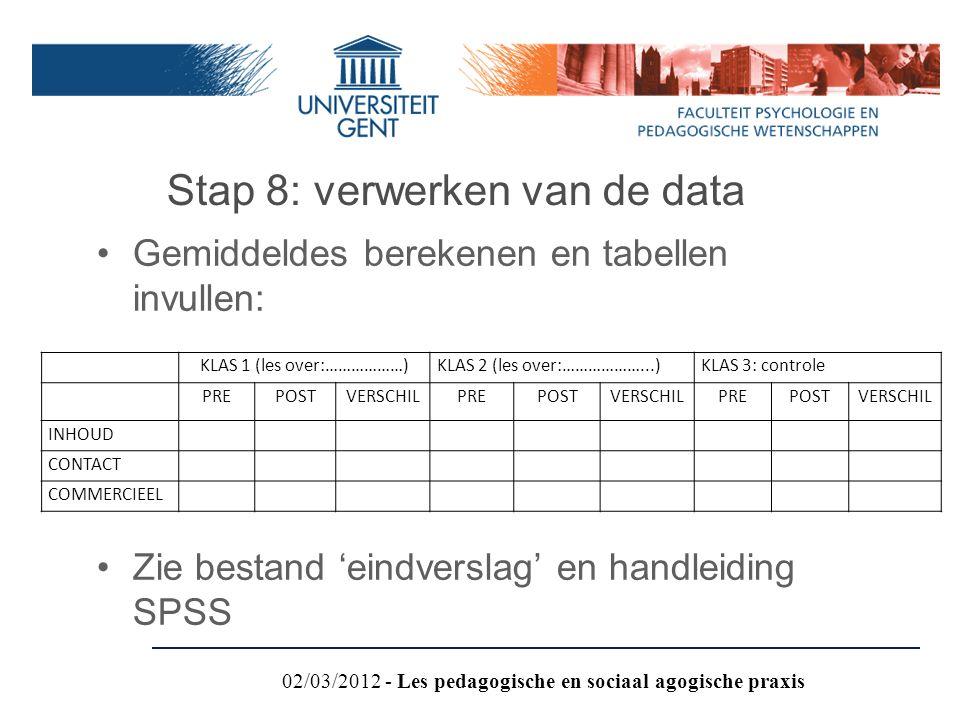 Stap 8: verwerken van de data Gemiddeldes berekenen en tabellen invullen: Zie bestand 'eindverslag' en handleiding SPSS KLAS 1 (les over:………………)KLAS 2