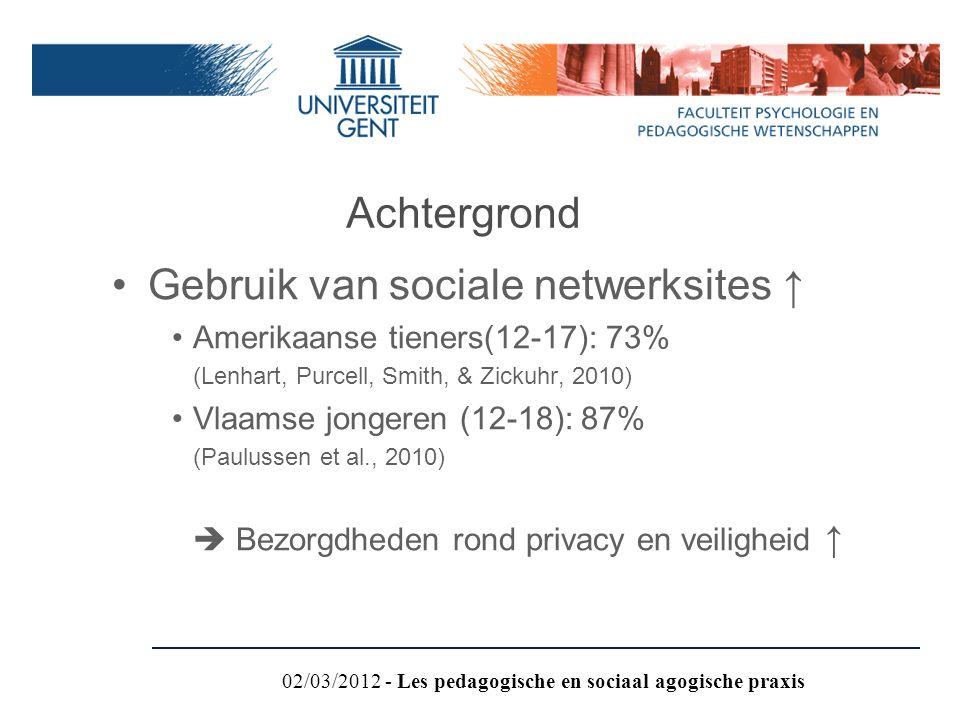 Gebruik van sociale netwerksites ↑ Amerikaanse tieners(12-17): 73% (Lenhart, Purcell, Smith, & Zickuhr, 2010) Vlaamse jongeren (12-18): 87% (Paulussen