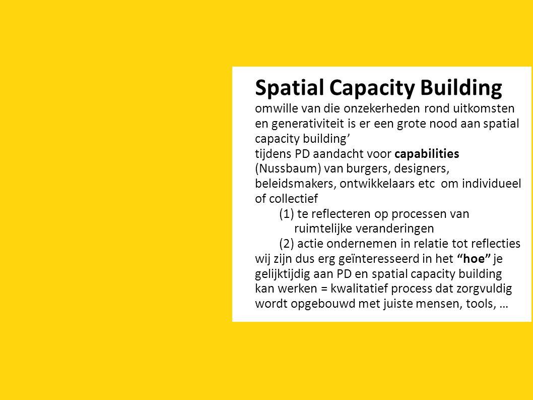 Spatial Capacity Building omwille van die onzekerheden rond uitkomsten en generativiteit is er een grote nood aan spatial capacity building' tijdens PD aandacht voor capabilities (Nussbaum) van burgers, designers, beleidsmakers, ontwikkelaars etc om individueel of collectief (1) te reflecteren op processen van ruimtelijke veranderingen (2) actie ondernemen in relatie tot reflecties wij zijn dus erg geïnteresseerd in het hoe je gelijktijdig aan PD en spatial capacity building kan werken = kwalitatief process dat zorgvuldig wordt opgebouwd met juiste mensen, tools, …