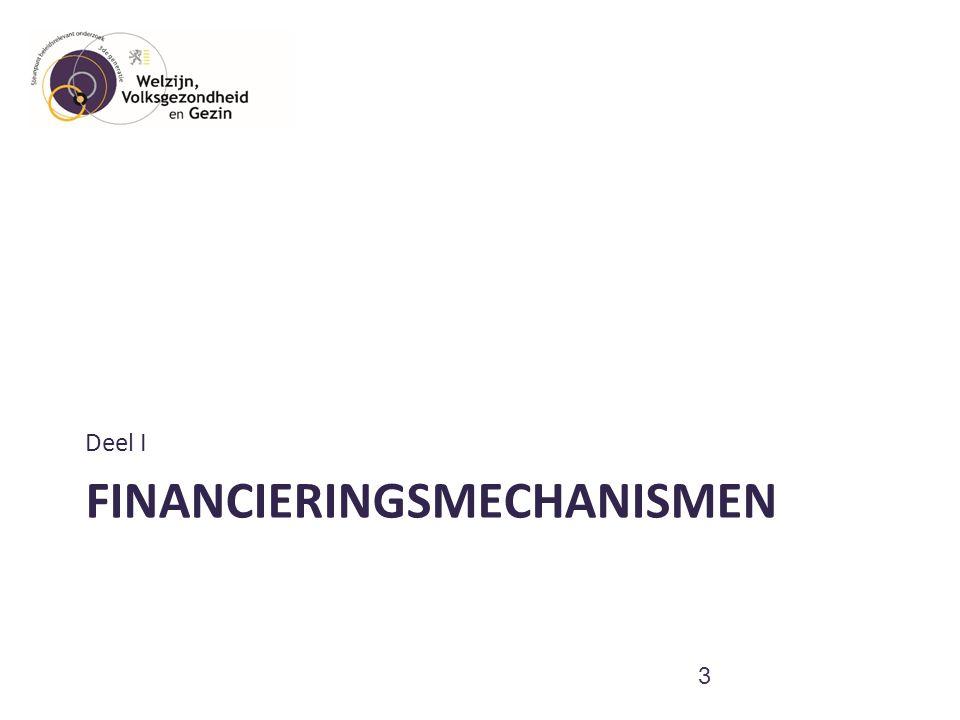 Financieringsmechanismen en bronnen –RIZIV: zorgkosten  Dagforfait: complex maar gedetailleerd  Tegemoetkoming derde luik: gelijkschakeling lonen ziekenhuissector  Tegemoetkoming eindeloopbaanmaatregel: VAP-dagen –Vlaams Agentschap Zorg en Gezondheid: werkingskosten  Animatie  Werkingskosten dagverzorgingscentra en centra voor kortverblijf –VIPA: woonkosten  Infrastructuur van woonzorgcentra, DVC en CKV –Subsidies lokale besturen –Overige kanalen: Tewerkstellingsmaatregelen  Sociale Maribel  GESCO's  PWA  Dienstencheque 4