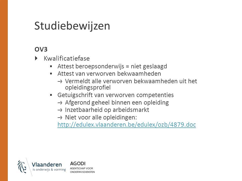 Studiebewijzen OV3  Kwalificatiefase  Attest beroepsonderwijs = niet geslaagd  Attest van verworven bekwaamheden Vermeldt alle verworven bekwaamhed