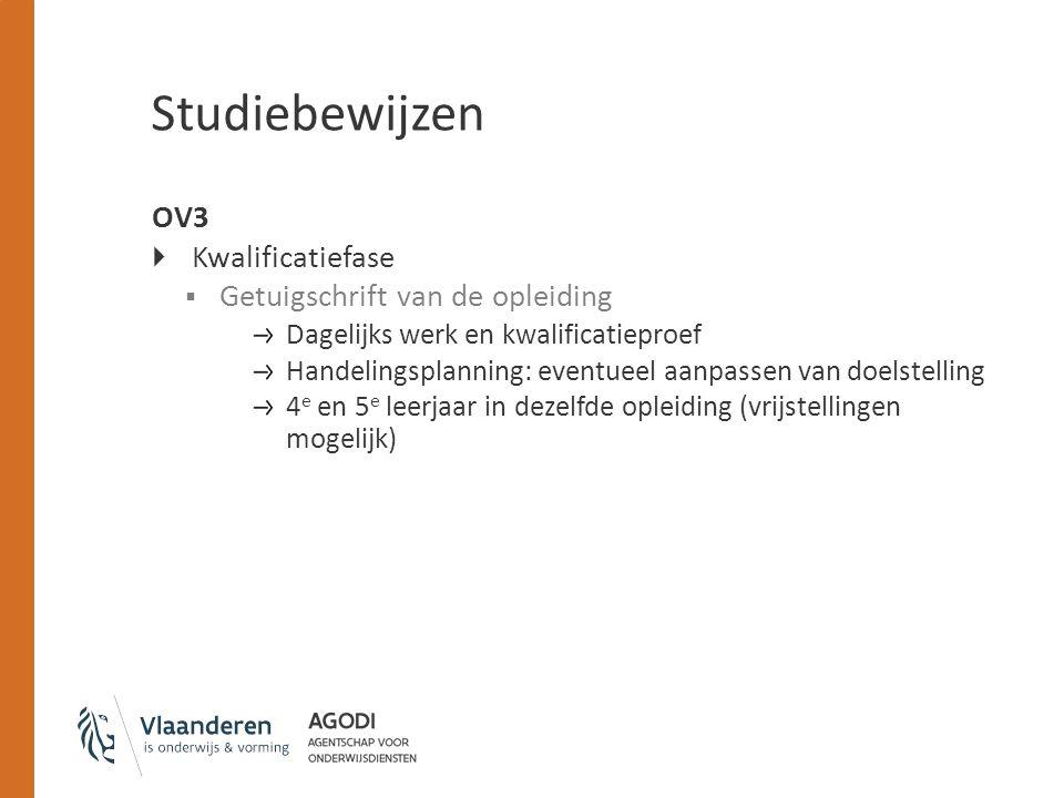 Studiebewijzen OV3  Kwalificatiefase  Getuigschrift van de opleiding Dagelijks werk en kwalificatieproef Handelingsplanning: eventueel aanpassen van