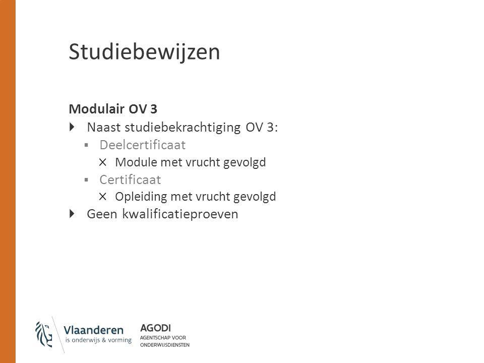 Studiebewijzen Modulair OV 3  Naast studiebekrachtiging OV 3:  Deelcertificaat Module met vrucht gevolgd  Certificaat Opleiding met vrucht gevolgd