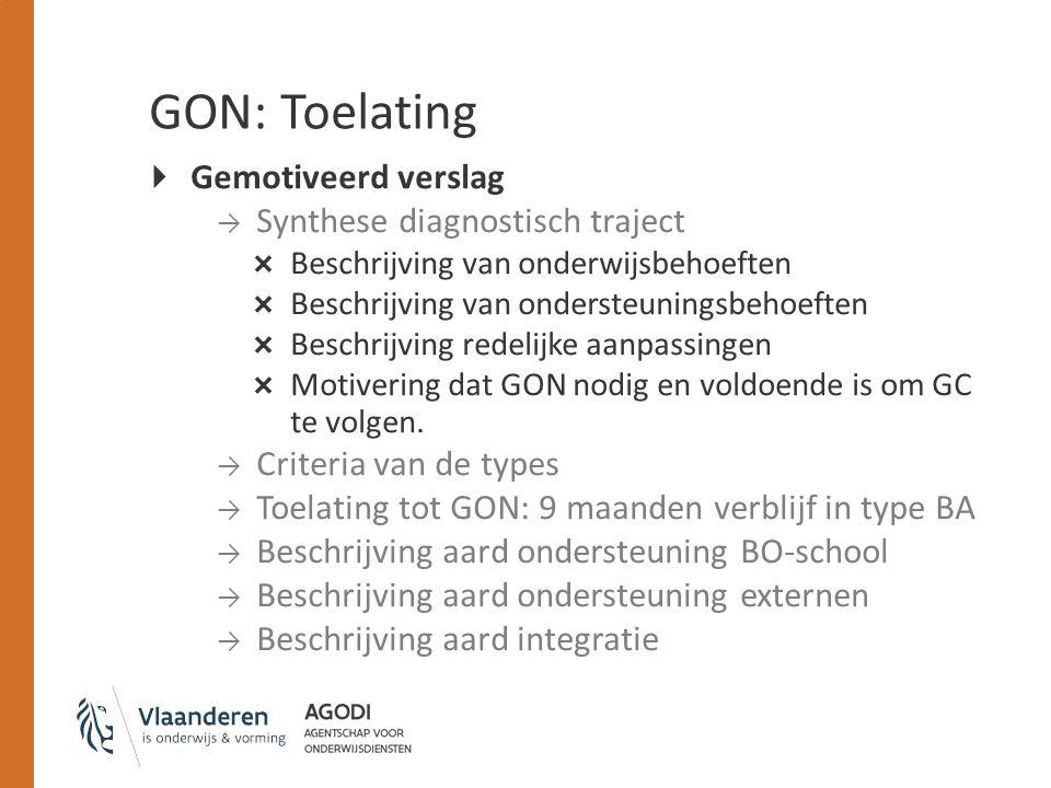 GON: Toelating  Gemotiveerd verslag → Synthese diagnostisch traject  Beschrijving van onderwijsbehoeften  Beschrijving van ondersteuningsbehoeften