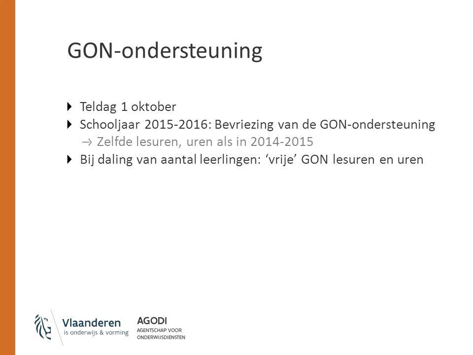 GON-ondersteuning Teldag 1 oktober Schooljaar 2015-2016: Bevriezing van de GON-ondersteuning Zelfde lesuren, uren als in 2014-2015 Bij daling van aant
