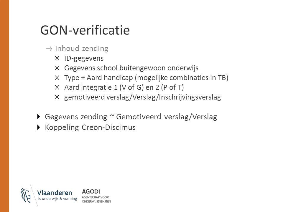 GON-verificatie Inhoud zending ID-gegevens Gegevens school buitengewoon onderwijs Type + Aard handicap (mogelijke combinaties in TB) Aard integratie 1