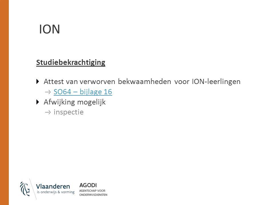 ION Studiebekrachtiging Attest van verworven bekwaamheden voor ION-leerlingen SO64 – bijlage 16 Afwijking mogelijk inspectie