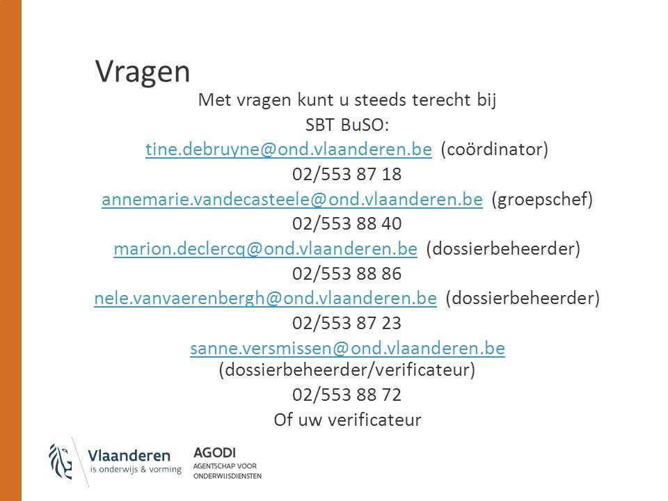 Vragen Met vragen kunt u steeds terecht bij SBT BuSO: tine.debruyne@ond.vlaanderen.betine.debruyne@ond.vlaanderen.be (coördinator) 02/553 87 18 annema