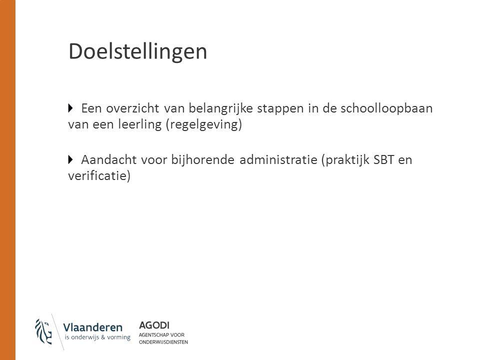 Doelstellingen Een overzicht van belangrijke stappen in de schoolloopbaan van een leerling (regelgeving) Aandacht voor bijhorende administratie (prakt