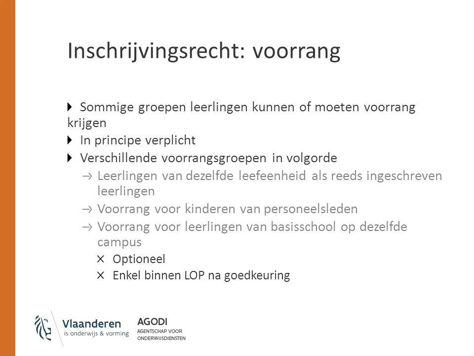 Inschrijvingsrecht: voorrang Voorrang voor leerlingen met ten minste één ouder die het Nederlands voldoende machtig is BHG Voorrang voor leerlingen die al dan niet indicatorleerling zijn LOP Dubbele contingentering Streven naar sociale mix