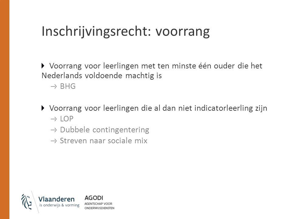 Inschrijvingsrecht: voorrang Voorrang voor leerlingen met ten minste één ouder die het Nederlands voldoende machtig is BHG Voorrang voor leerlingen di