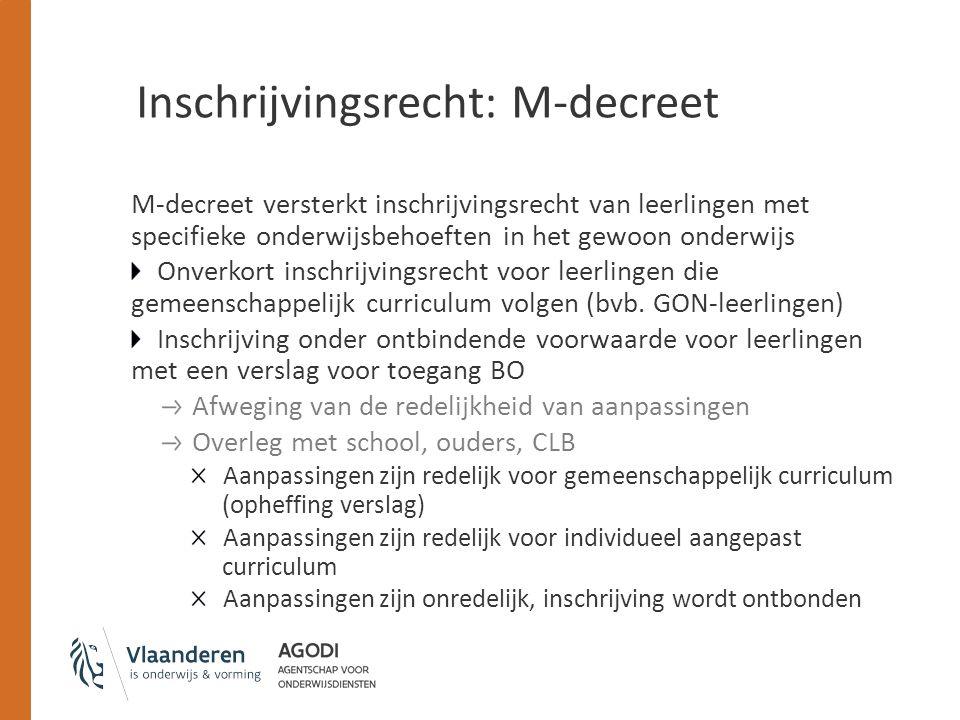 Inschrijvingsrecht: M-decreet Informatieplicht: Ouders moeten het verslag voor toegang tot het BO bij een vraag tot inschrijving in een school voor gewoon onderwijs aan de school overmaken.