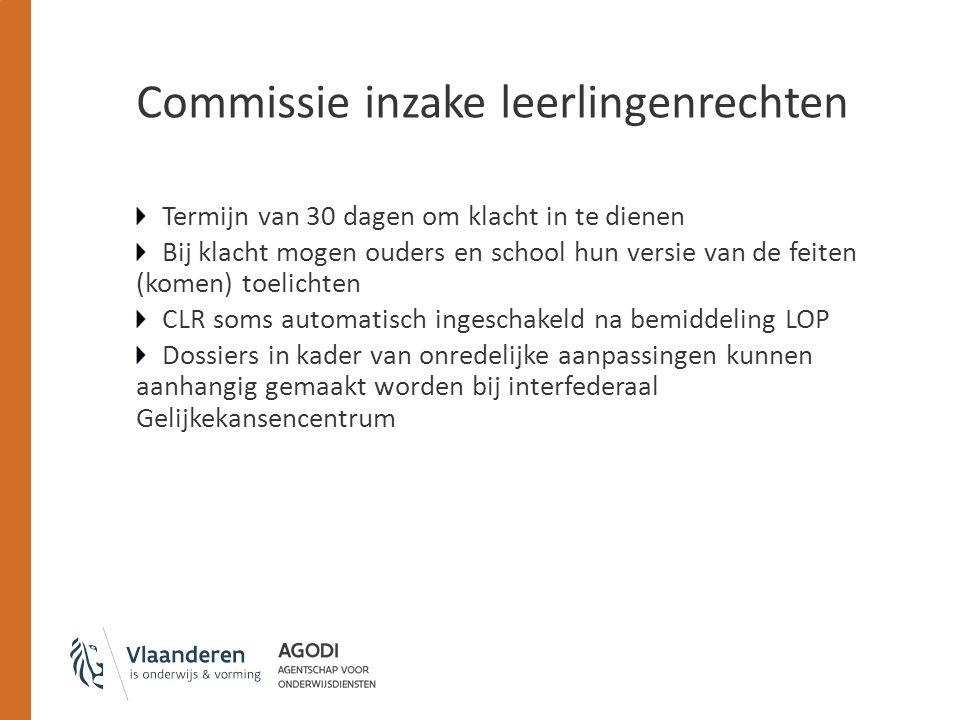 Commissie inzake leerlingenrechten Termijn van 30 dagen om klacht in te dienen Bij klacht mogen ouders en school hun versie van de feiten (komen) toel