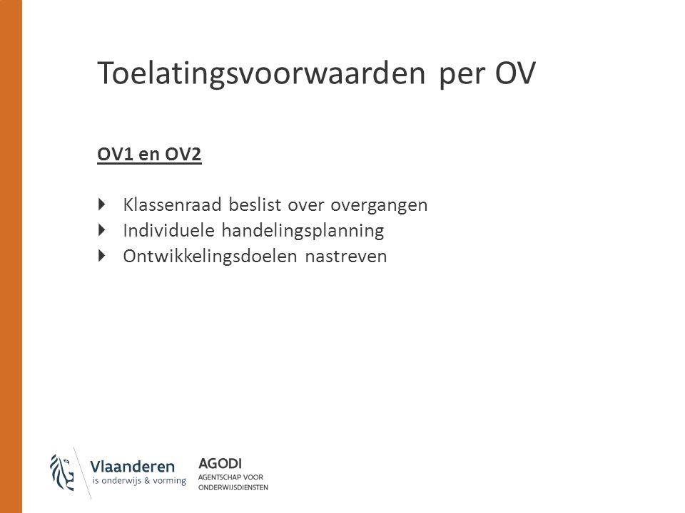Toelatingsvoorwaarden per OV OV1 en OV2  Klassenraad beslist over overgangen  Individuele handelingsplanning  Ontwikkelingsdoelen nastreven