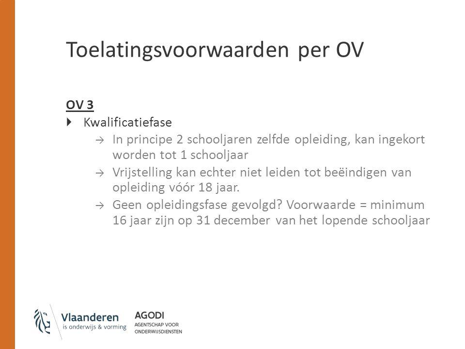 Toelatingsvoorwaarden per OV OV 3  Kwalificatiefase → In principe 2 schooljaren zelfde opleiding, kan ingekort worden tot 1 schooljaar → Vrijstelling