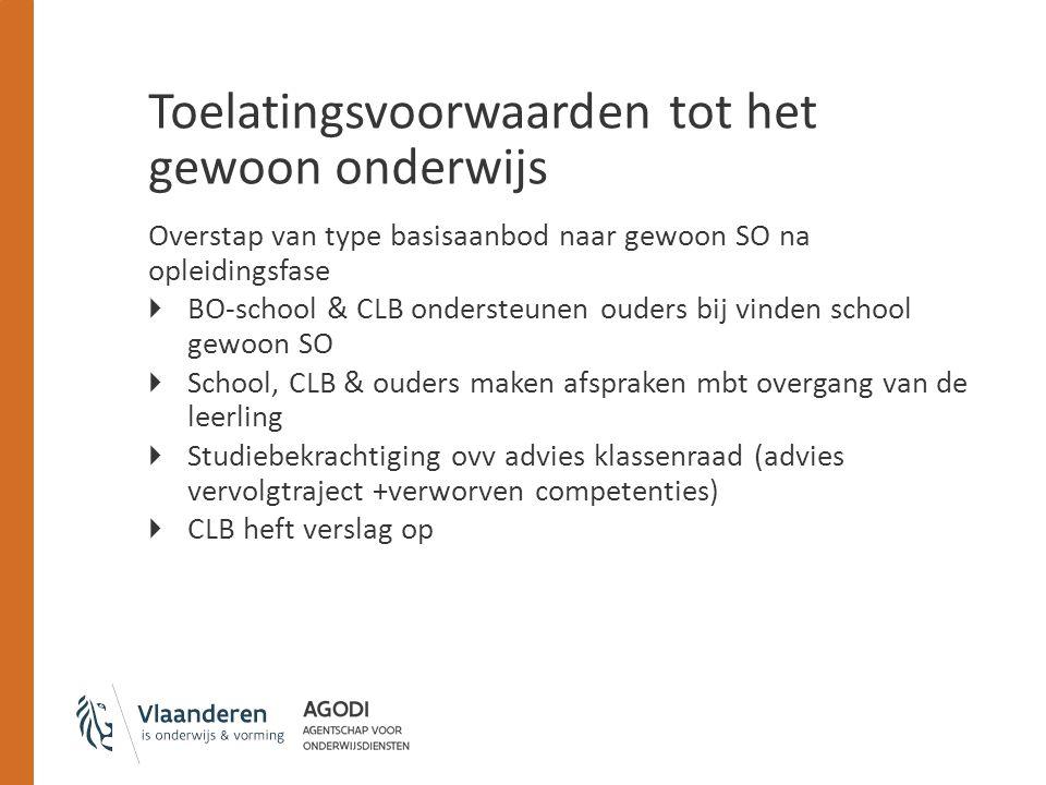 Toelatingsvoorwaarden tot het gewoon onderwijs Overstap van type basisaanbod naar gewoon SO na opleidingsfase  BO-school & CLB ondersteunen ouders bi