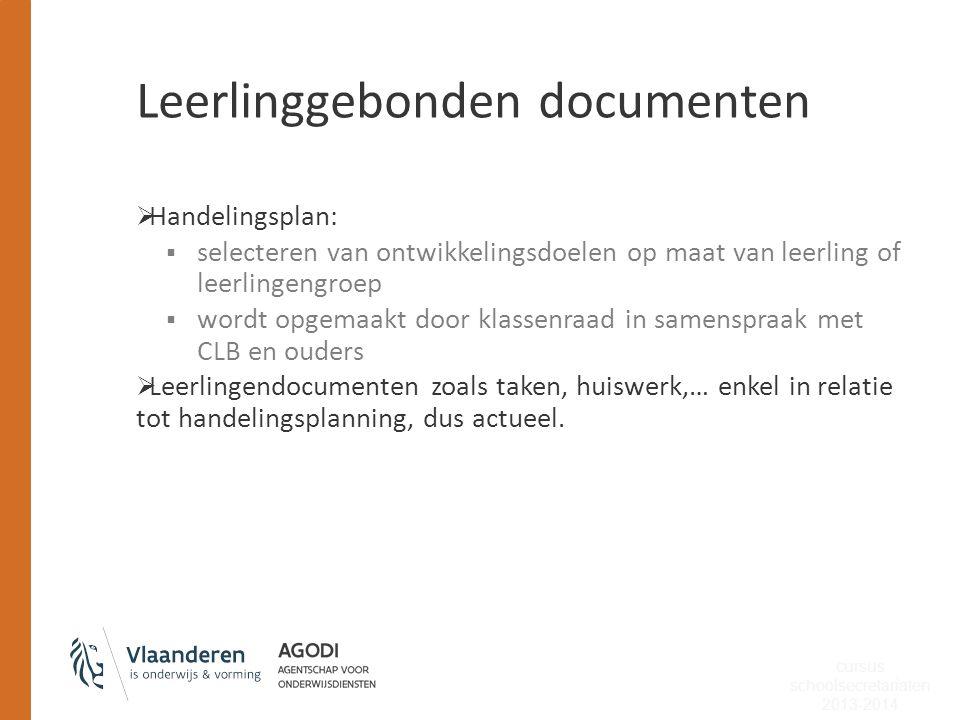 Leerlinggebonden documenten  Handelingsplan:  selecteren van ontwikkelingsdoelen op maat van leerling of leerlingengroep  wordt opgemaakt door klas