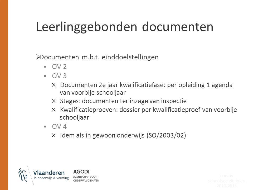 Leerlinggebonden documenten  Documenten m.b.t. einddoelstellingen  OV 2  OV 3 Documenten 2e jaar kwalificatiefase: per opleiding 1 agenda van voorb