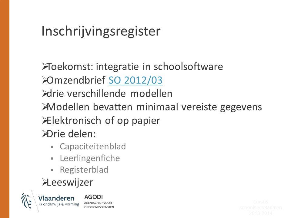 Inschrijvingsregister  Toekomst: integratie in schoolsoftware  Omzendbrief SO 2012/03SO 2012/03  drie verschillende modellen  Modellen bevatten mi