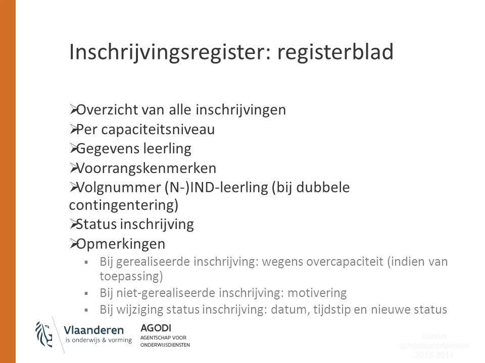 Inschrijvingsregister: registerblad  Overzicht van alle inschrijvingen  Per capaciteitsniveau  Gegevens leerling  Voorrangskenmerken  Volgnummer