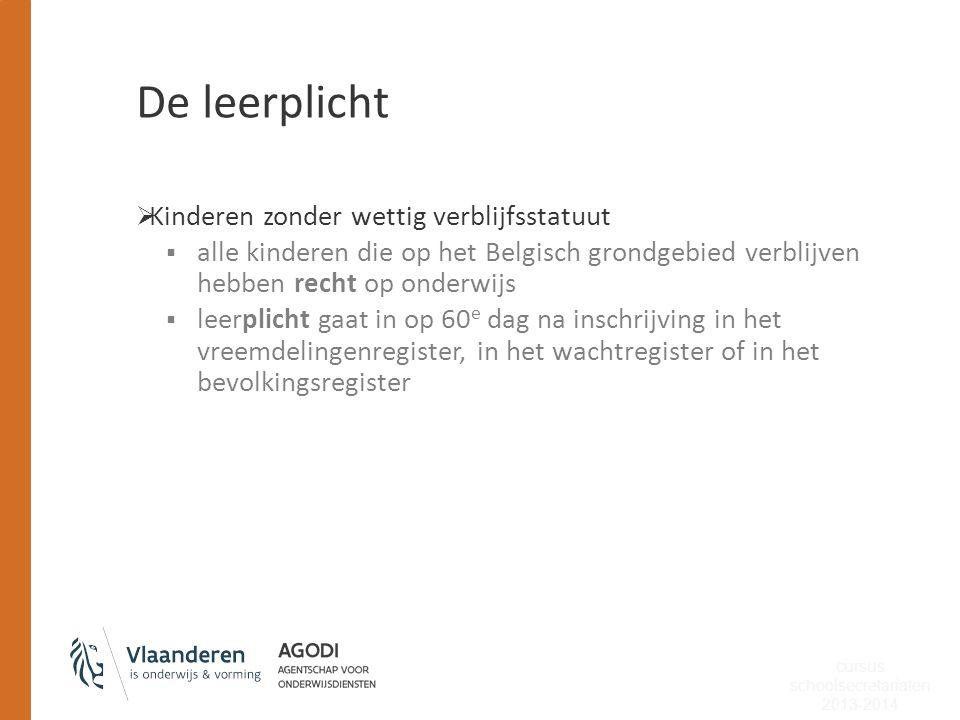 De leerplicht  Kinderen zonder wettig verblijfsstatuut  alle kinderen die op het Belgisch grondgebied verblijven hebben recht op onderwijs  leerpli
