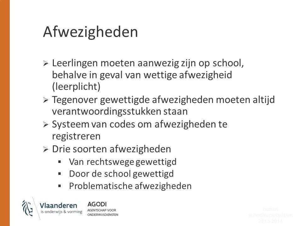  Leerlingen moeten aanwezig zijn op school, behalve in geval van wettige afwezigheid (leerplicht)  Tegenover gewettigde afwezigheden moeten altijd v