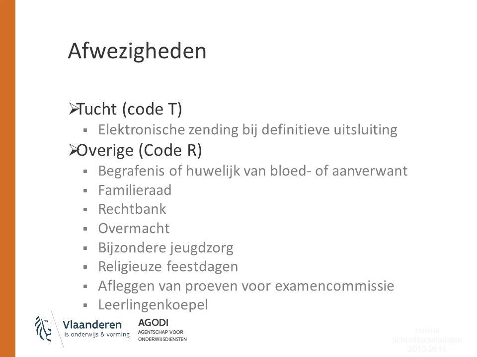Afwezigheden  Tucht (code T)  Elektronische zending bij definitieve uitsluiting  Overige (Code R)  Begrafenis of huwelijk van bloed- of aanverwant