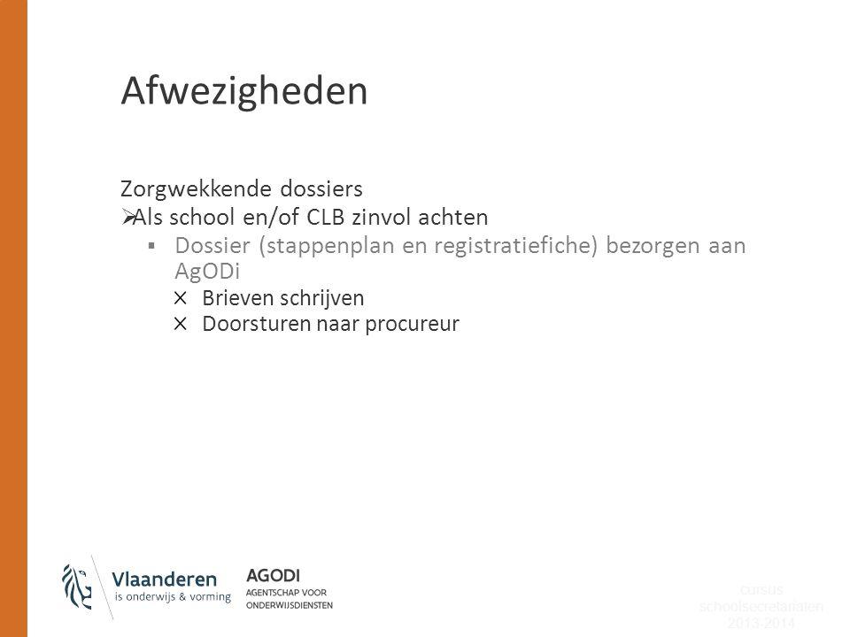 Afwezigheden Zorgwekkende dossiers  Als school en/of CLB zinvol achten  Dossier (stappenplan en registratiefiche) bezorgen aan AgODi Brieven schrijv