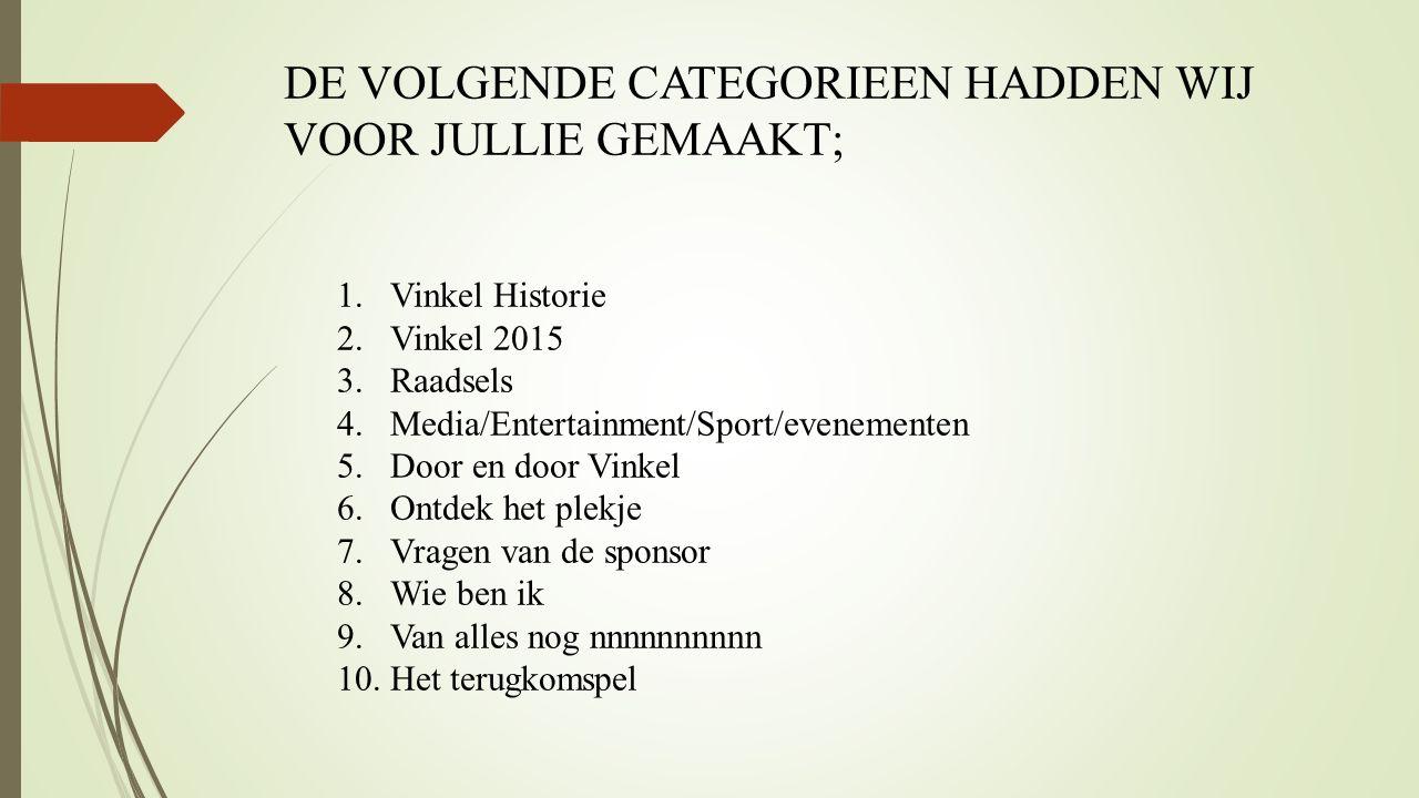 DE VOLGENDE CATEGORIEEN HADDEN WIJ VOOR JULLIE GEMAAKT; 1. Vinkel Historie 2. Vinkel 2015 3. Raadsels 4. Media/Entertainment/Sport/evenementen 5. Door